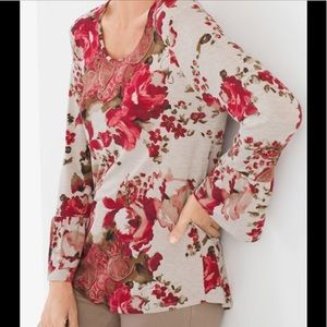 Chico's Drops of Roses Tunic